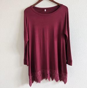 PinkBlush Maroon Lace Hem Top (Medium)